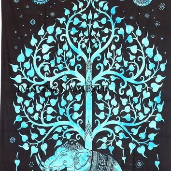 Elephant Tree Tapestry Good luck Elephant tapestry Hippie Wall hanging Tree of life tapestry Drom tapestry Indian bed spread wall hanging