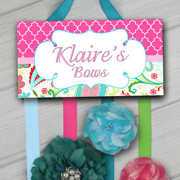HAIR BOW HOLDER - Personalized Colourful Garden HairBow Holder Organizer - Girls Personal Hair Bow and Clip Hanger HB0172