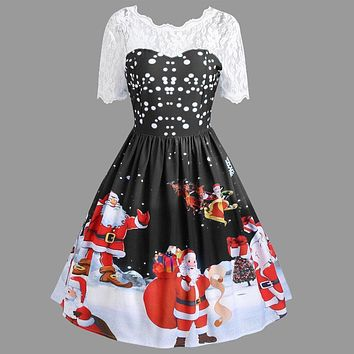 Dress Women vestidos Ladies winter Sexy Dress Fashion Merry Christmas Vintage Claus Print Lace Evening Party Dress