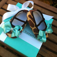 Tiffany & Co Inspired Giraffe Infant Crib Shoes by RockkandyKids