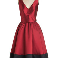 ModCloth Colorblocking Long Sleeveless Fit & Flare Picture Perfection Dress in Rouge