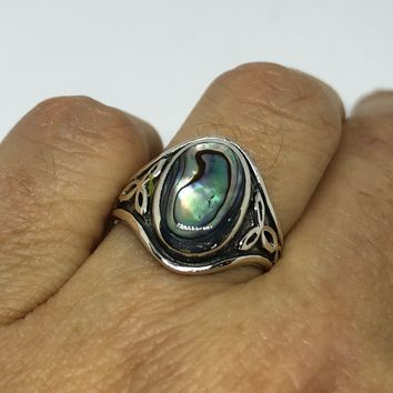 Antique green abalone Celtic knot fillgree sterling silver ring