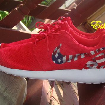 Custom Nike Red or Black American Flag Roshes 986acedb1d10