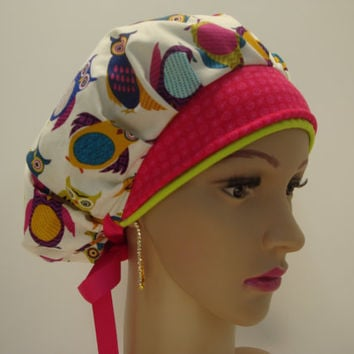 Bouffant-Handmade-Medical Scrub Cap-Nurses Cap-Woman Hat-100% Cotton
