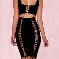 Black Ribbed Eyelet Lace Up Tank Crop Top and Bodycon Skirt