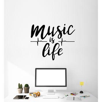 Vinyl Wall Decal Music Is Love Heartbeat Musical Teen Room Stickers Mural (g726)