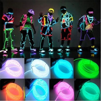 Flexible EL Wire Neon Light 3M for Dance Party Car Decor+Controller = 1946880644