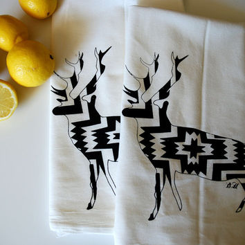 Pattered Deer Screen Printed Dish Towel Pair - Tribal- Ikat- Stag Towel- Bar Towel- Tea Towel- Flour Sack Towel- Deer Towel