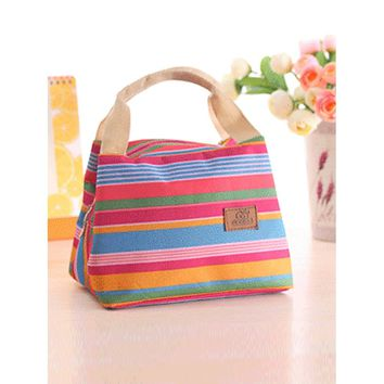 Striped Tote Lunch Bag