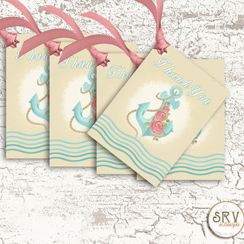 8 Nautical Shabby Gift Tags,Anchor and Roses 2.5 x 3.5 Hang Tags, Thank You Tags, Product Tag, Greeting Cards, Choose Ribbon Color