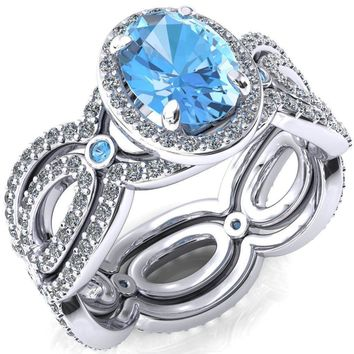 Polaris Oval Lab-Created Aqua Blue Spinel Diamond Halo Full Eternity Aqua Blue Spinel Bezel Diamond Accent Ring