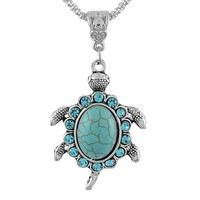 1PC Women Turquoise Rhinestone Turtle Pendant Necklace Green Crystal Necklace For Women Jewelry