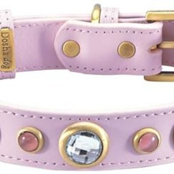 'Diamond' Faceted Rhinestones & Cats Eye on Light Pink Leather Dog Collar