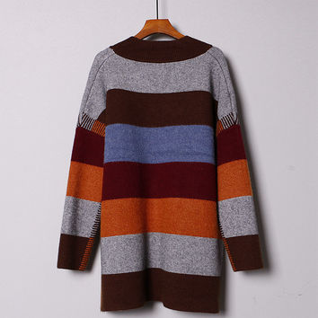 HEYFAIR Women's Stripe Loose Thick Knitted Pullover Sweater Jumper