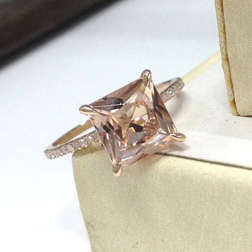 Morganite Engagement Ring 14K Rose Gold!Diamond Wedding Bridal Ring,8mm Princess Cut Pink Morganite,Promise,Pave set,Can make matching band