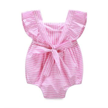 Kids Baby Sleeveless Striped Rompers Bowknot 2017 Summer Newborn Infant Ruffle Romper Sunsuit Clothes Outfits Design Jumpsuit
