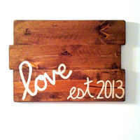 Custom Stained Love Sign, Wooden sign, Wall decor, Handmade Sign, wedding sign
