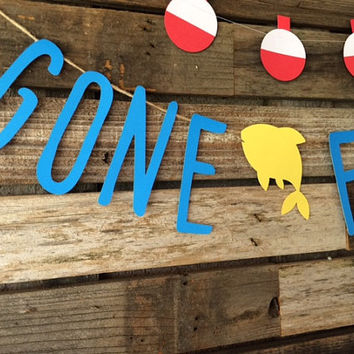 Gone Fishing Party Banner - Gone Fishing Banner, Baby Shower, Birthday Party, Under The Sea