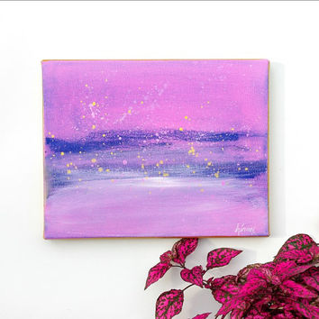 Small Abstract art Original painting Purple and Blue modern Wall art on 8x10 canvas