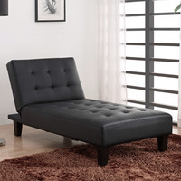 Black Faux Leather Upholstered Chaise Lounge Convertible Reclining Sleeper Bed