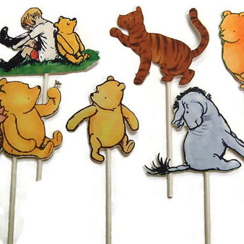 Winnie The Pooh Cupcake Toppers Food Picks, Birthday Party Decorations,Winnie the Pooh Party,Pooh Birthday Party,Winnie The Pooh Baby Shower