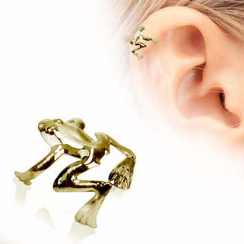 Antique Gold Plated Tree Frog Fake Cartilage Ear Cuff