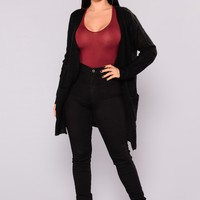 Just Jane Ribbed Cardigan - Black