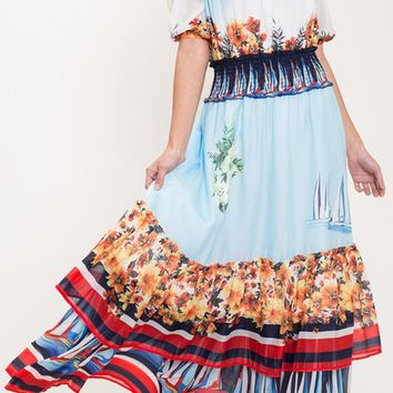 Island Vision Blue Red Tropical Floral Stripe Pattern Short Sleeve Off The Shoulder Tiered Casual Maxi Dress