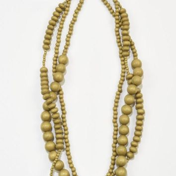 Ink + Alloy | 3 STRAND MUSTARD WOOD BEADED NECKLACE