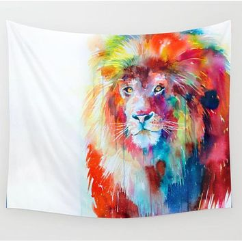 Watercolor Lion Tapestry