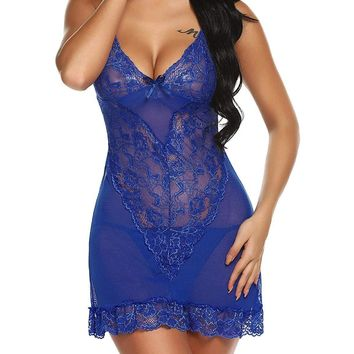US Women Sexy Mesh Sheer Nightie Sleep Dress G-string See Through Lingerie Sets