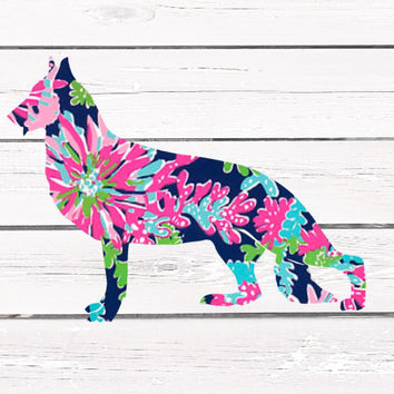 Lilly Pulitzer German Shepard Vinyl Decal For Yeti Tumblers, Cars, and Tech Devices