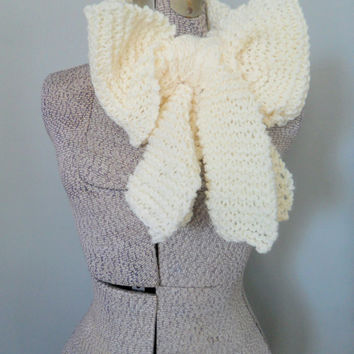 Knitted Bow Scarf, Chunky Knitted Bow Ascot Neck Warmer, Women's Extra Long Off White Scarf