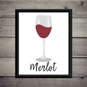 Merlot Wine Digital Art Print - Instant Download - Digital Art - Digital Print - Desk Art - Wine - Salut - Bar Decor - Bar Print - Red Wine