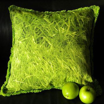Grass pillow green throw accent turf lawn yard by crabbychris