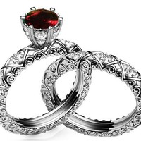 Wedding Ring Set Unique Bridal set Ruby & Diamond Braided Pavé Engraving matching wedding band in 14K or 18K White gold marriage forever
