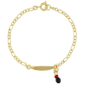 """18k Yellow Gold Plated Simulated Azabache Charm ID Tag Bracelet for Kids 6"""""""