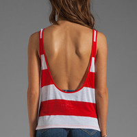 Blue Life Crop Low Back Tank in Red Stripe from REVOLVEclothing.com