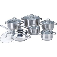 12-Piece Stainless Steel Cookware Set with Casseroles Frying Pan & Saucepan