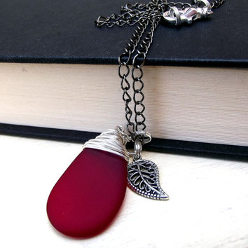 Red Sea Glass Necklace: Feather Charm, Fine Silver Wire Wrapped Holiday, Christmas Beach Jewelry, Under 40