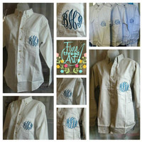 Oversized Oxford Shirt with Monogram for Bridal by finethreadart