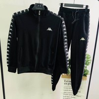 Kappa autumn and winter new men and women casual fitness sportswear two-piece black