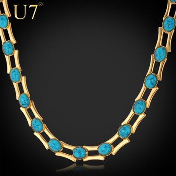 U7 Gold/Silver Color Blue Stone Jewelry Unisex Women/Men Gift Trendy 46CM 1 CM Thick Link Chain Necklace N353