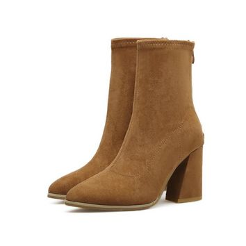 Back Zipper Solid Color Suede Middle Chunky Heels Short Boots