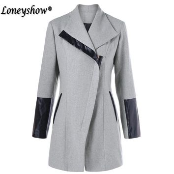 Brand Design Winter Coat Women Warm Wool Coat Long Office Lady Cashmere Coat Leather Patchwork European Fashion Jacket Outwear