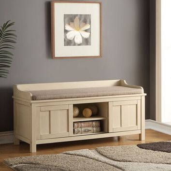 Rosio collection cream finish wood and light brown fabric upholstered seat bedroom entry storage bench