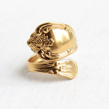 Vintage Spoon Ring - Adjustable 14k Gold Plated WMA Rogers Oneida Ltd. Retro Bypass Flatware Vanessa Magnolia Retro Costume Jewelry