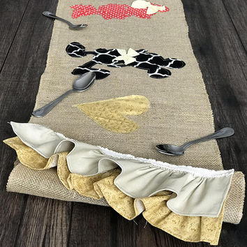 Disney kitchen decor, bridal shower gift wedding gift burlap table runner, coffee table runner disney kitchen accessories, mickey and minnie