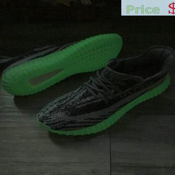 2018 Real adidas Yeezy Boost 350 V2 Green Glow In The Dark Grey Silver shoe