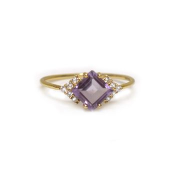 14kt Gold Lilac Quartz & Diamond Aphrodite Shield Ring